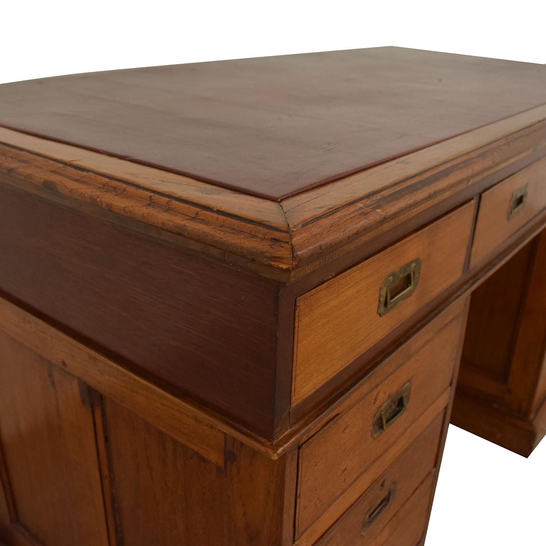 Antique English Colonial Pedestal Desk discount