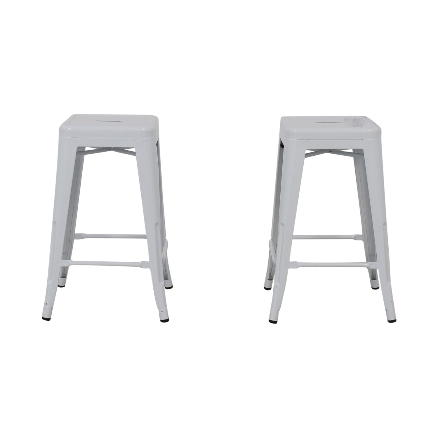 White Metal Stools dimensions