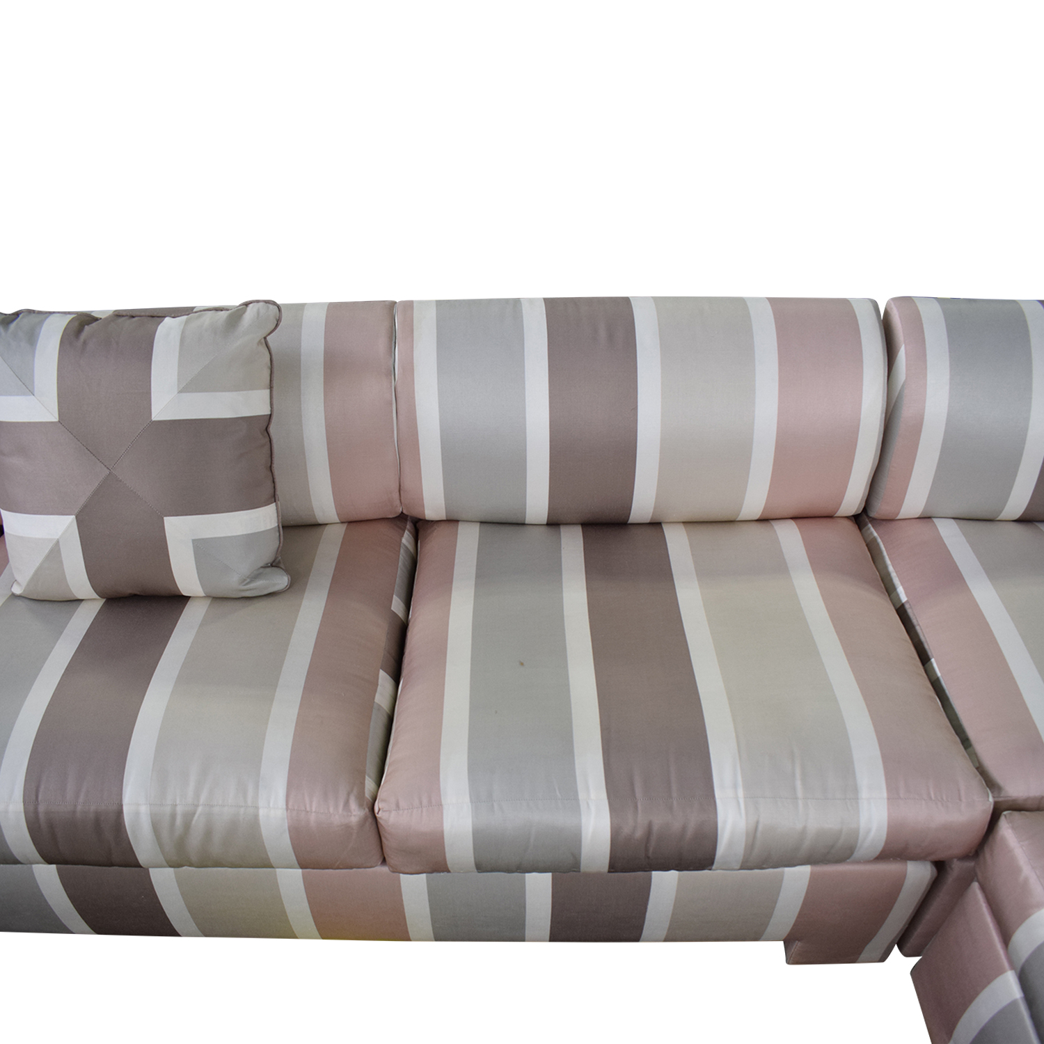 Custom Pink Striped Sectional Sofa Sectionals