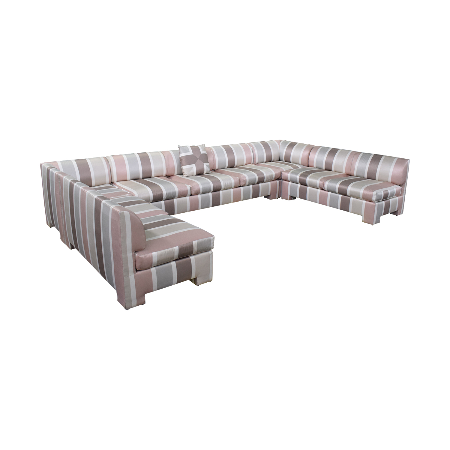 Custom Pink Striped Sectional Sofa nj