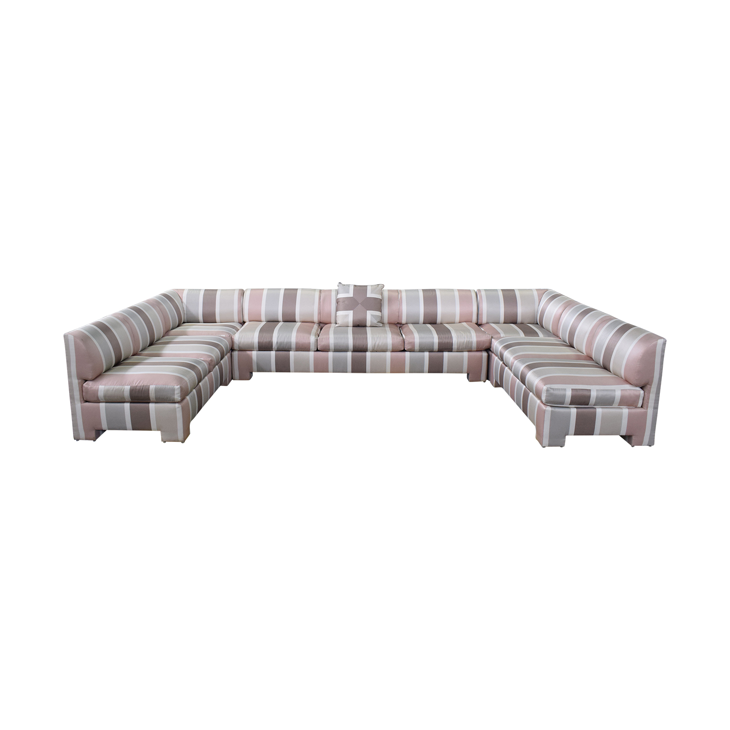 shop Custom Pink Striped Sectional Sofa  Sectionals