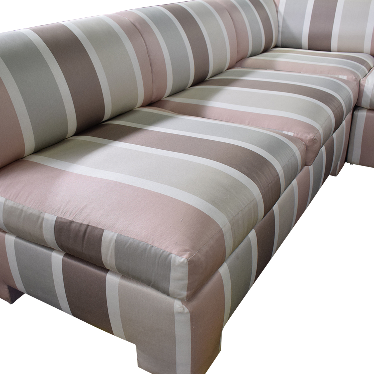Custom Pink Striped Sectional Sofa