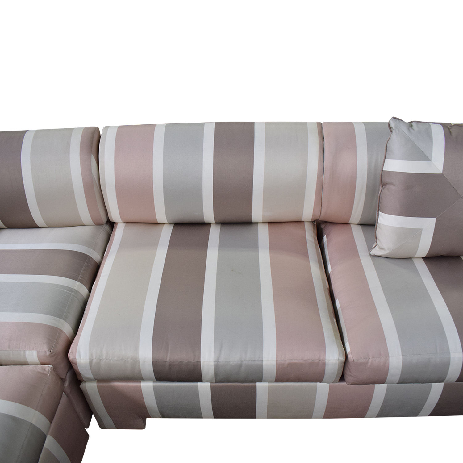 Custom Pink Striped Sectional Sofa dimensions
