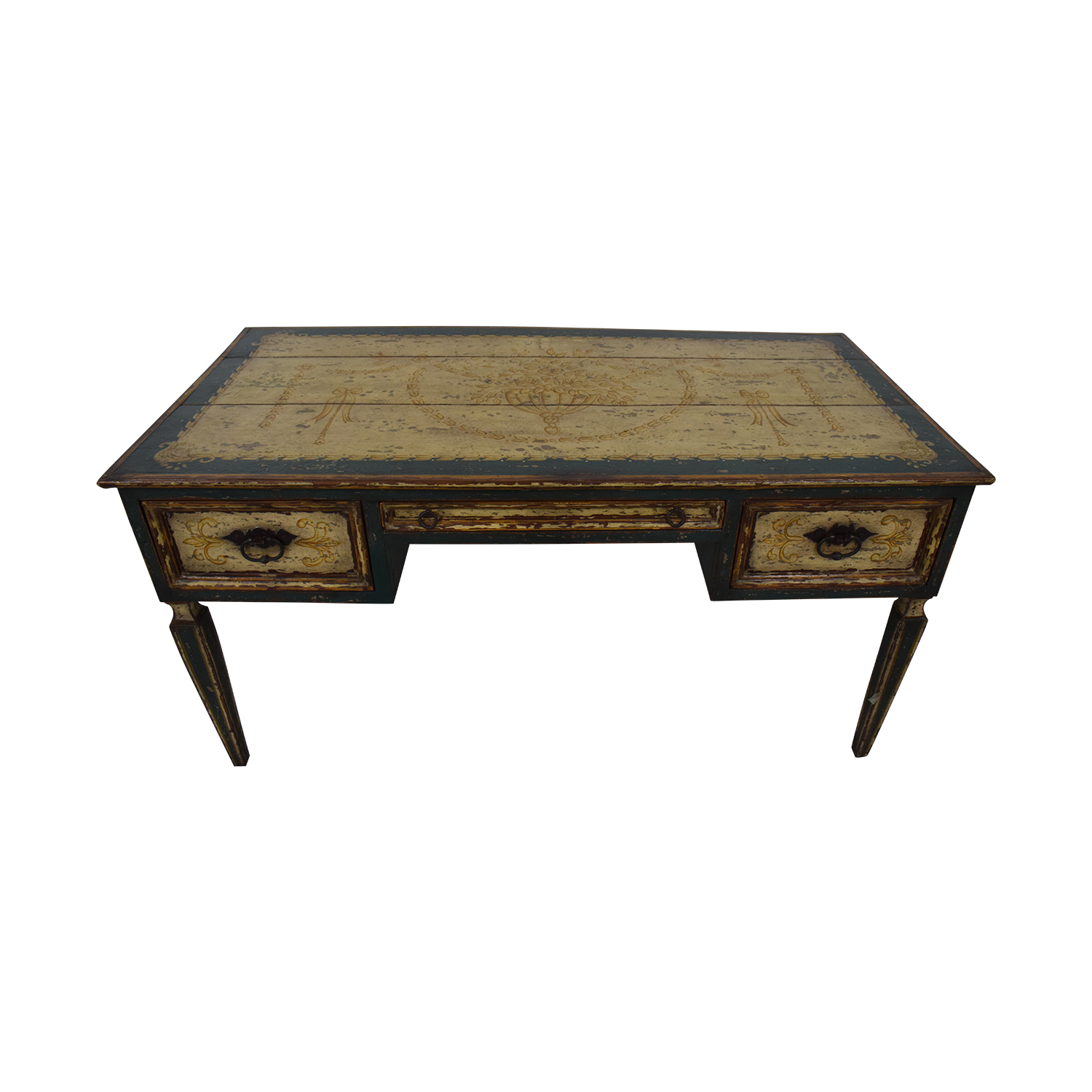 Equestrian Hand Painted Reclaimed Wood Desk On Sale
