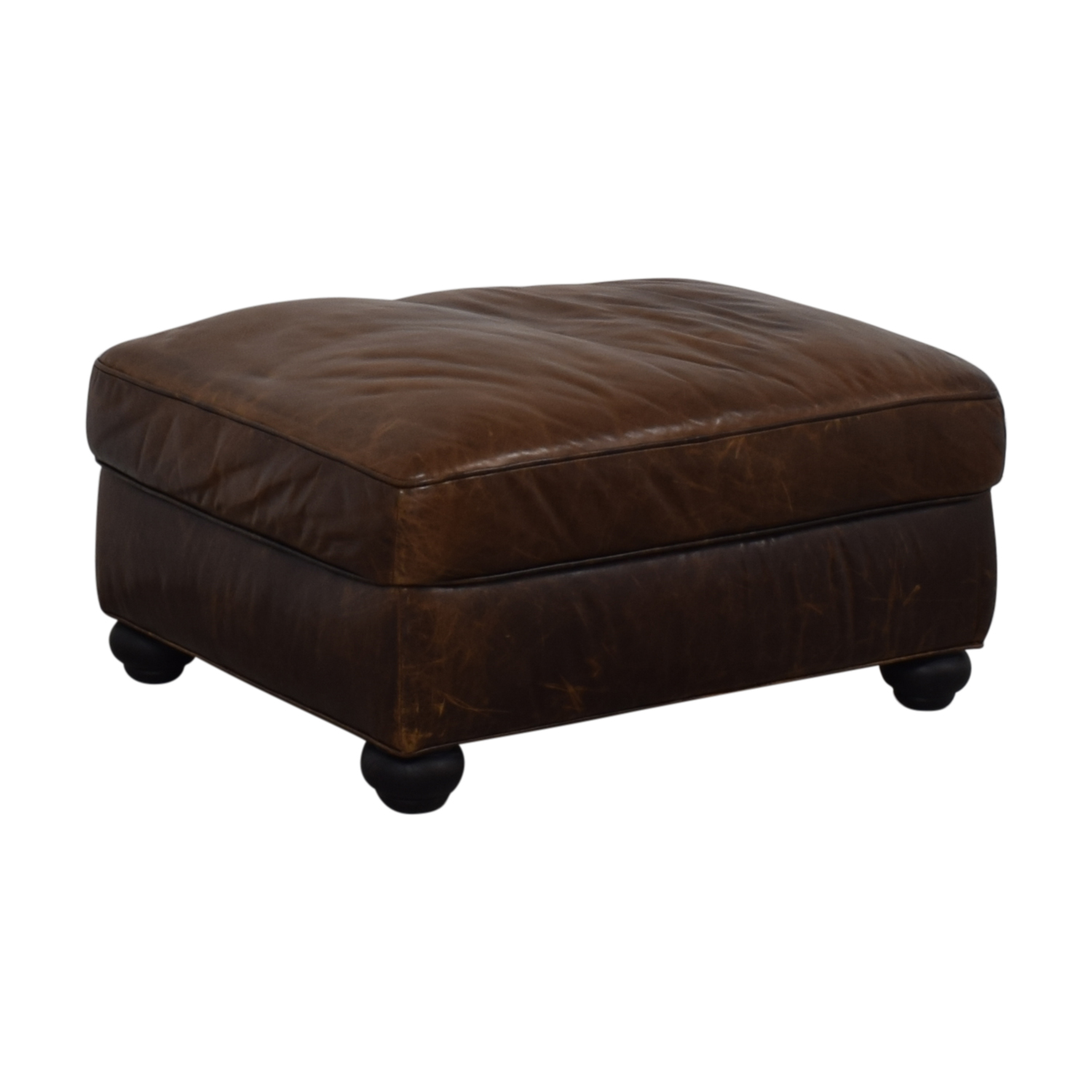Restoration Hardware Lancaster Leather Ottoman Restoration Hardware