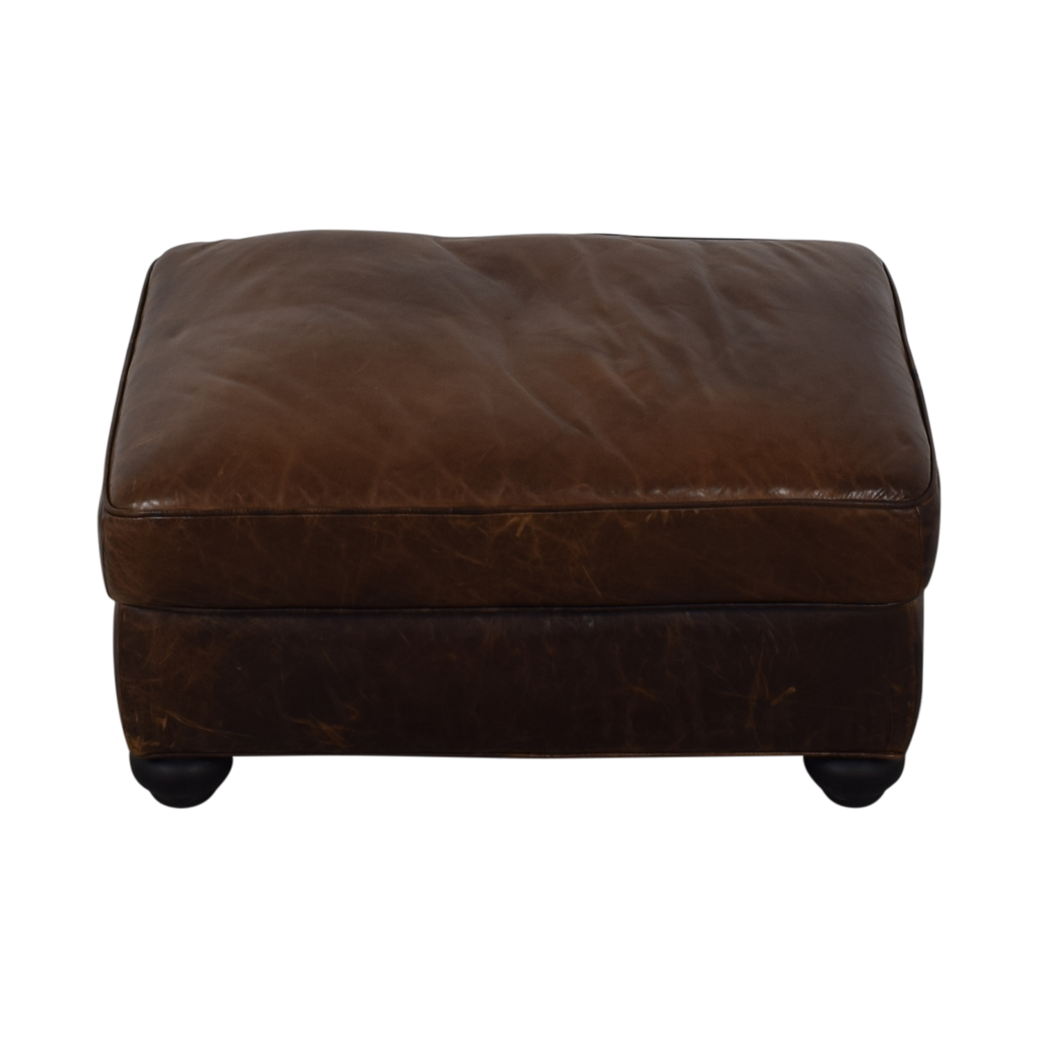 Restoration Hardware Lancaster Leather Ottoman / Ottomans