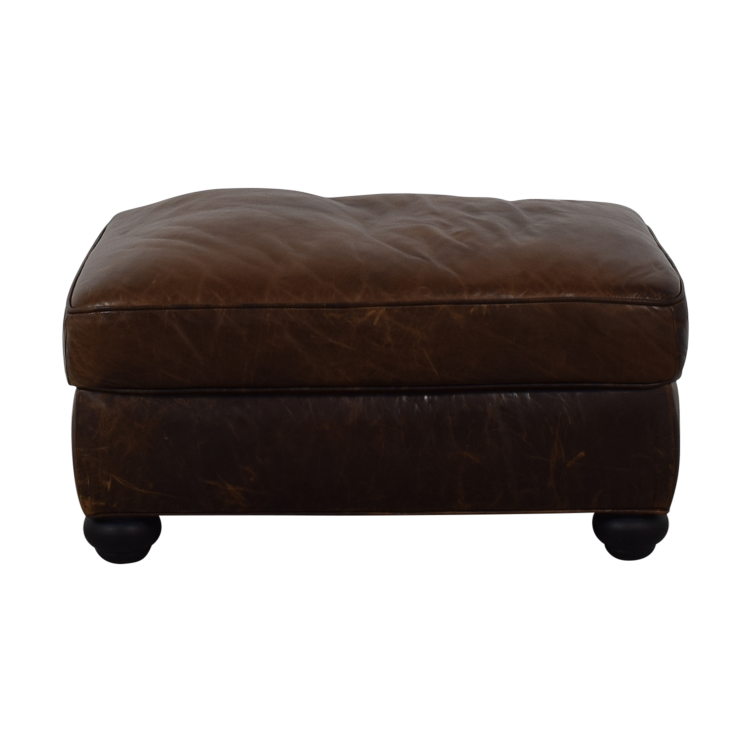 Restoration Hardware Restoration Hardware Lancaster Leather Ottoman second hand