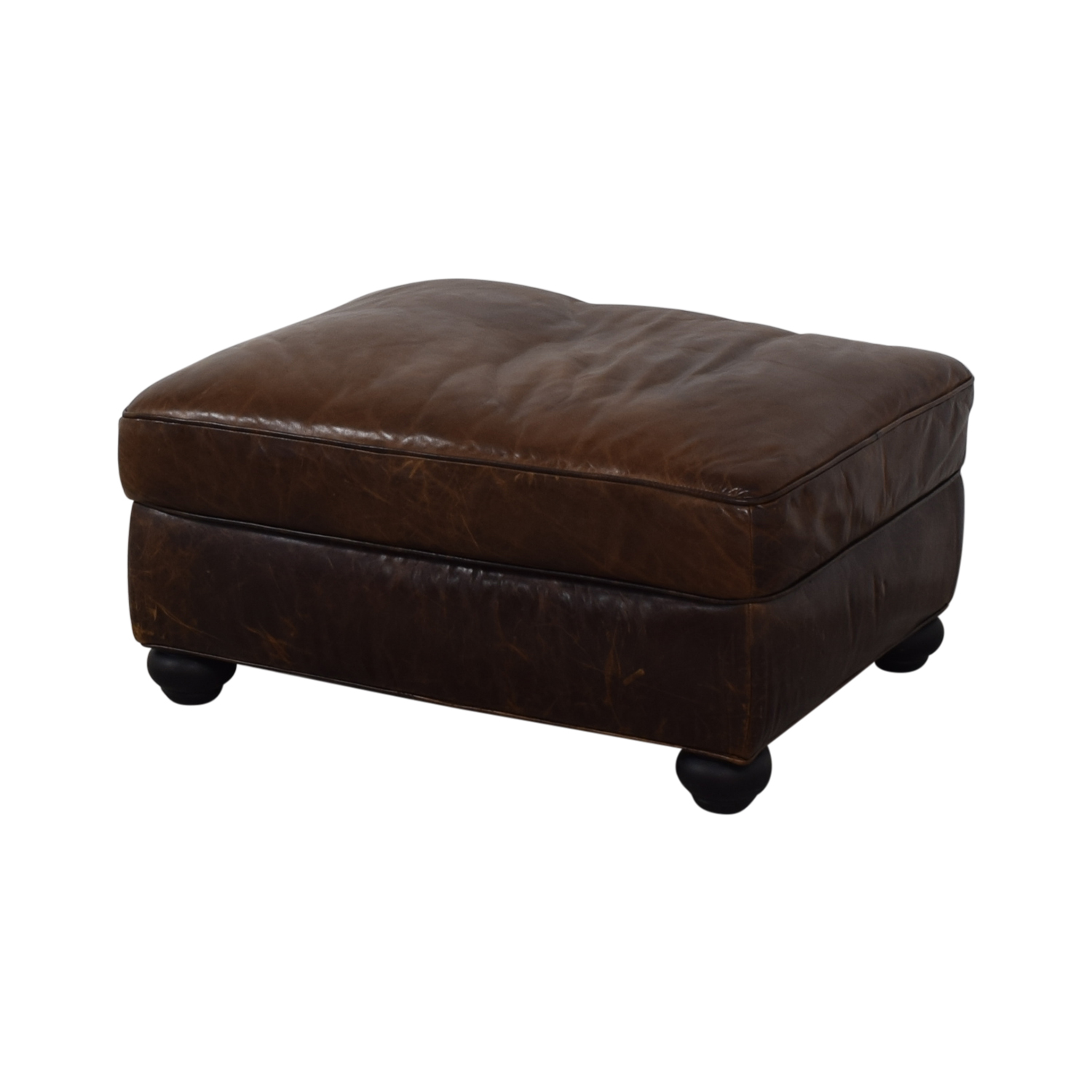Restoration Hardware Restoration Hardware Lancaster Leather Ottoman for sale