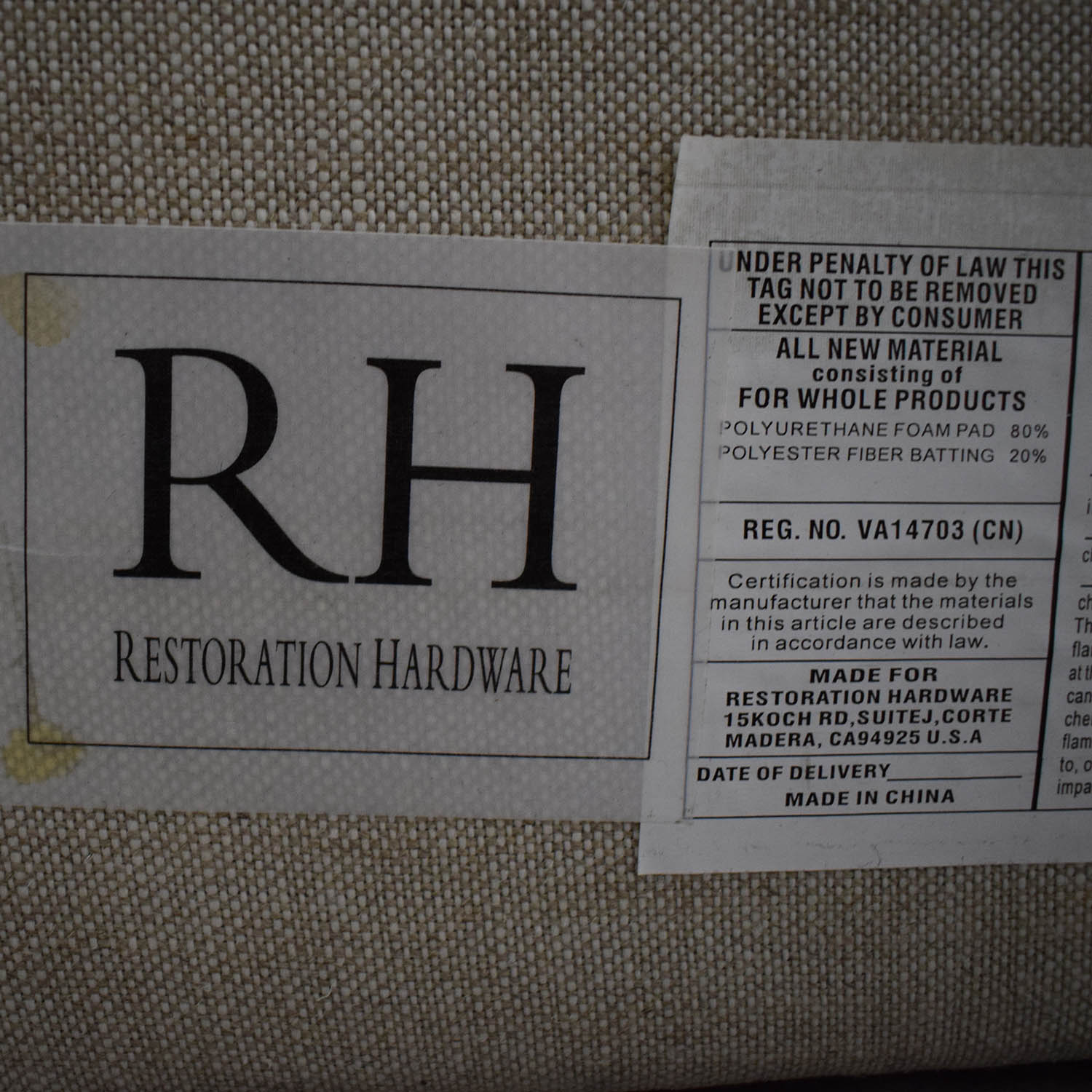 Restoration Hardware Restoration Hardware Chesterfield Fabric Panel Headboard nj