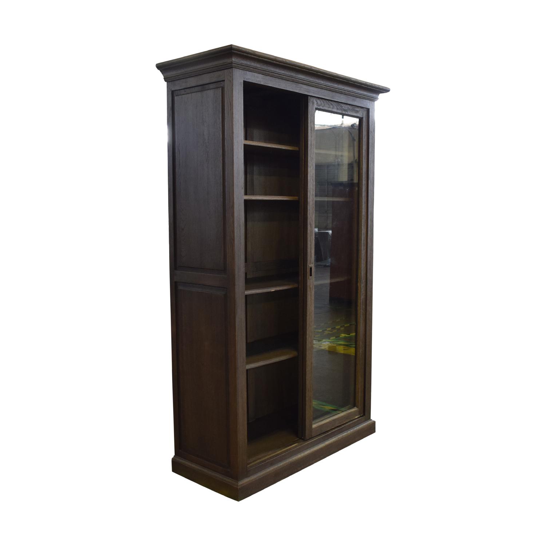 Restoration Hardware Restoration Hardware 20th C. English Brass Bar Slider Glass Double-Door Cabinet price