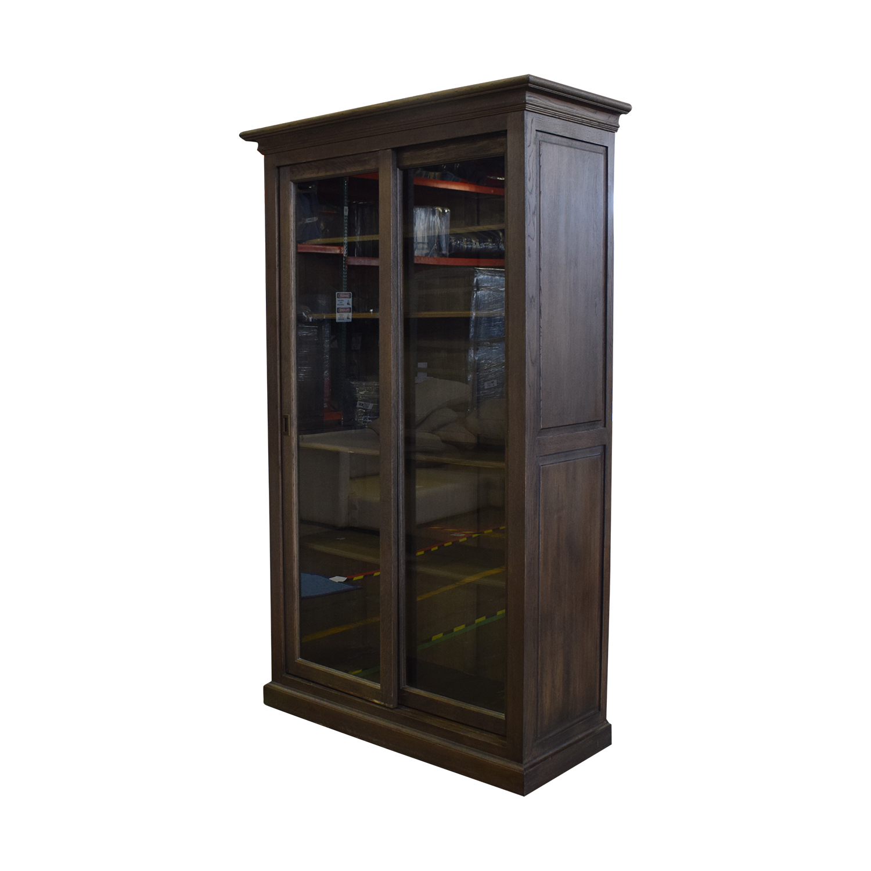 Restoration Hardware 20th C. English Brass Bar Slider Glass Double-Door Cabinet sale