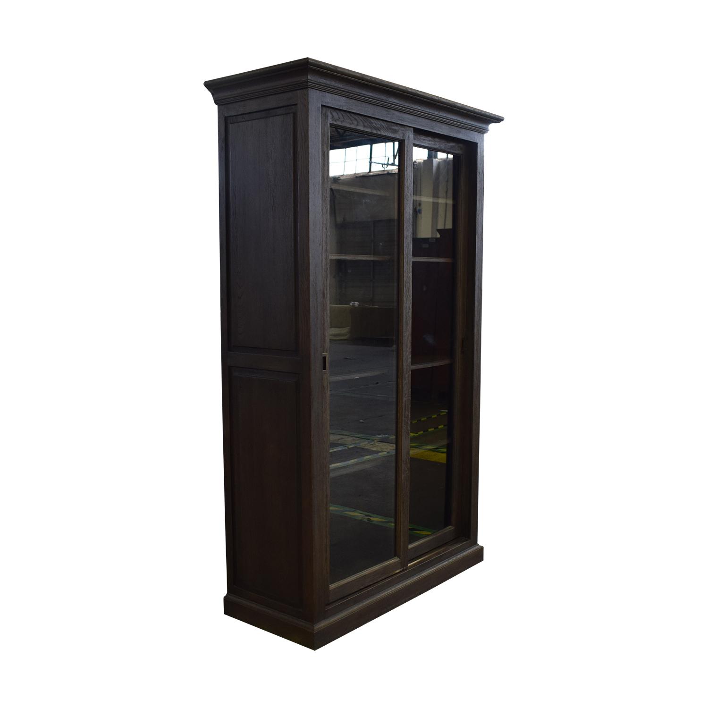 buy Restoration Hardware Restoration Hardware 20th C. English Brass Bar Slider Glass Double-Door Cabinet online