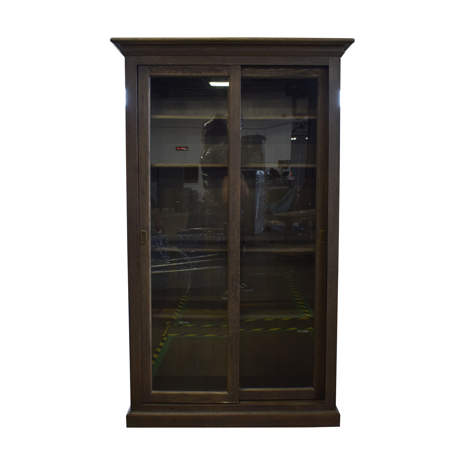 Restoration Hardware Restoration Hardware 20th C. English Brass Bar Slider Glass Double-Door Cabinet Storage