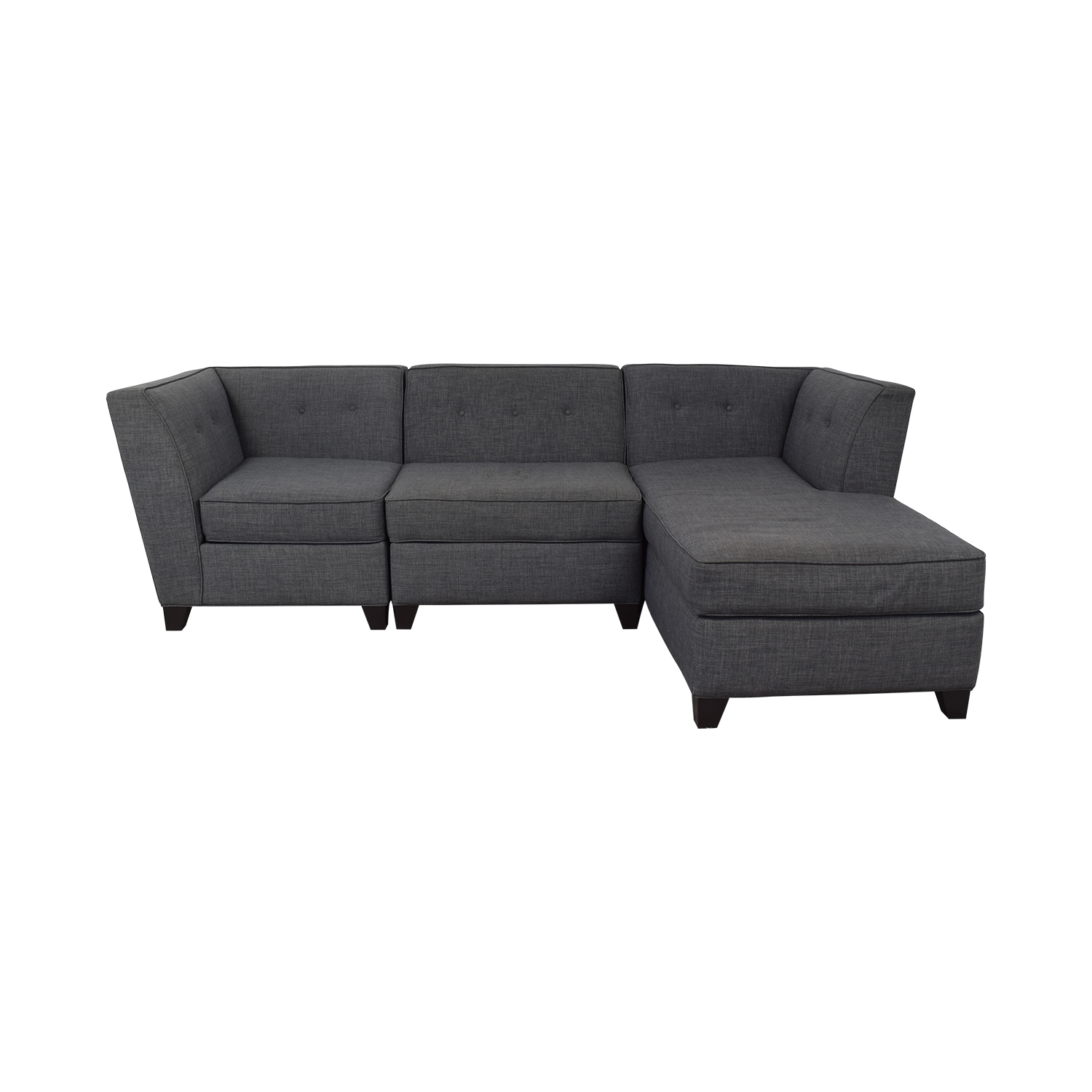 Macy's Macy's Three-Piece Chaise Sectional Sofa blue/gray