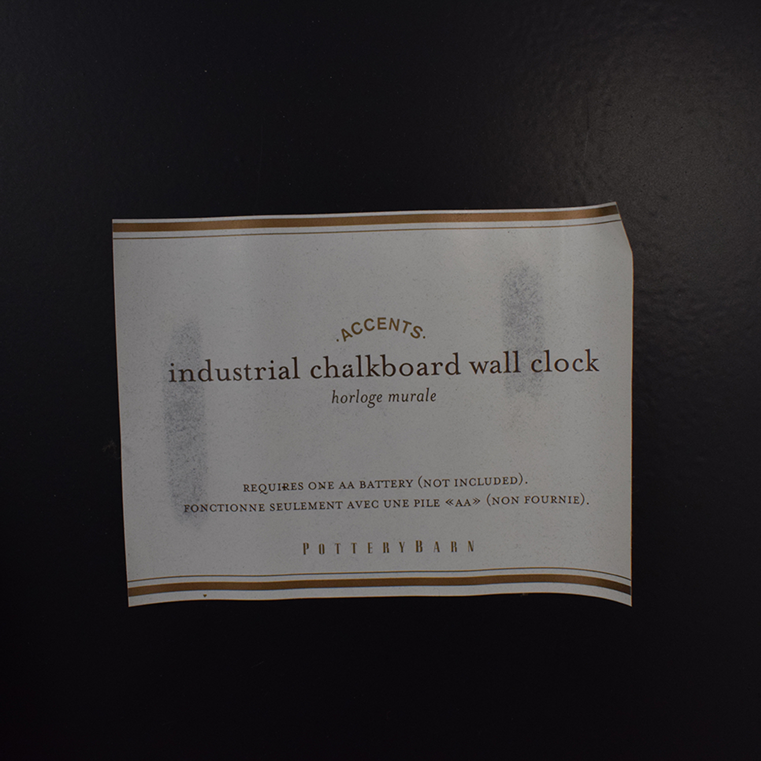 Pottery Barn Oversized Industrial Chalkboard Wall Clock second hand