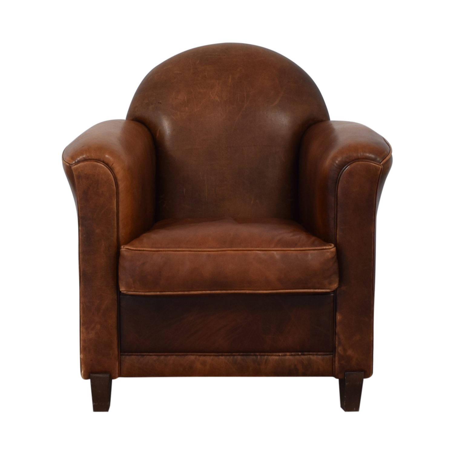 French Leather Club Chair Accent Chairs