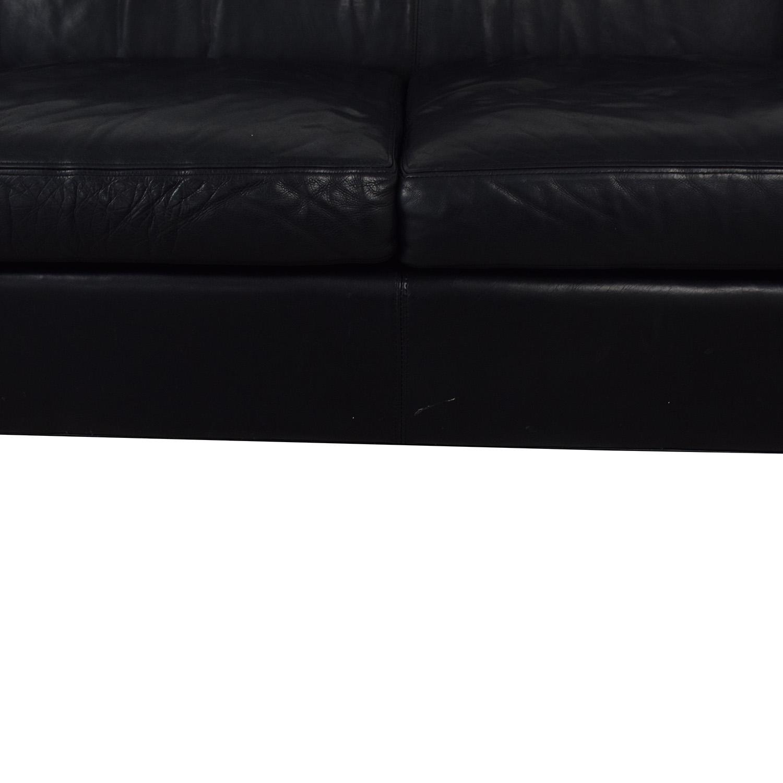 Crate & Barrel Black Leather Sofa / Sofas