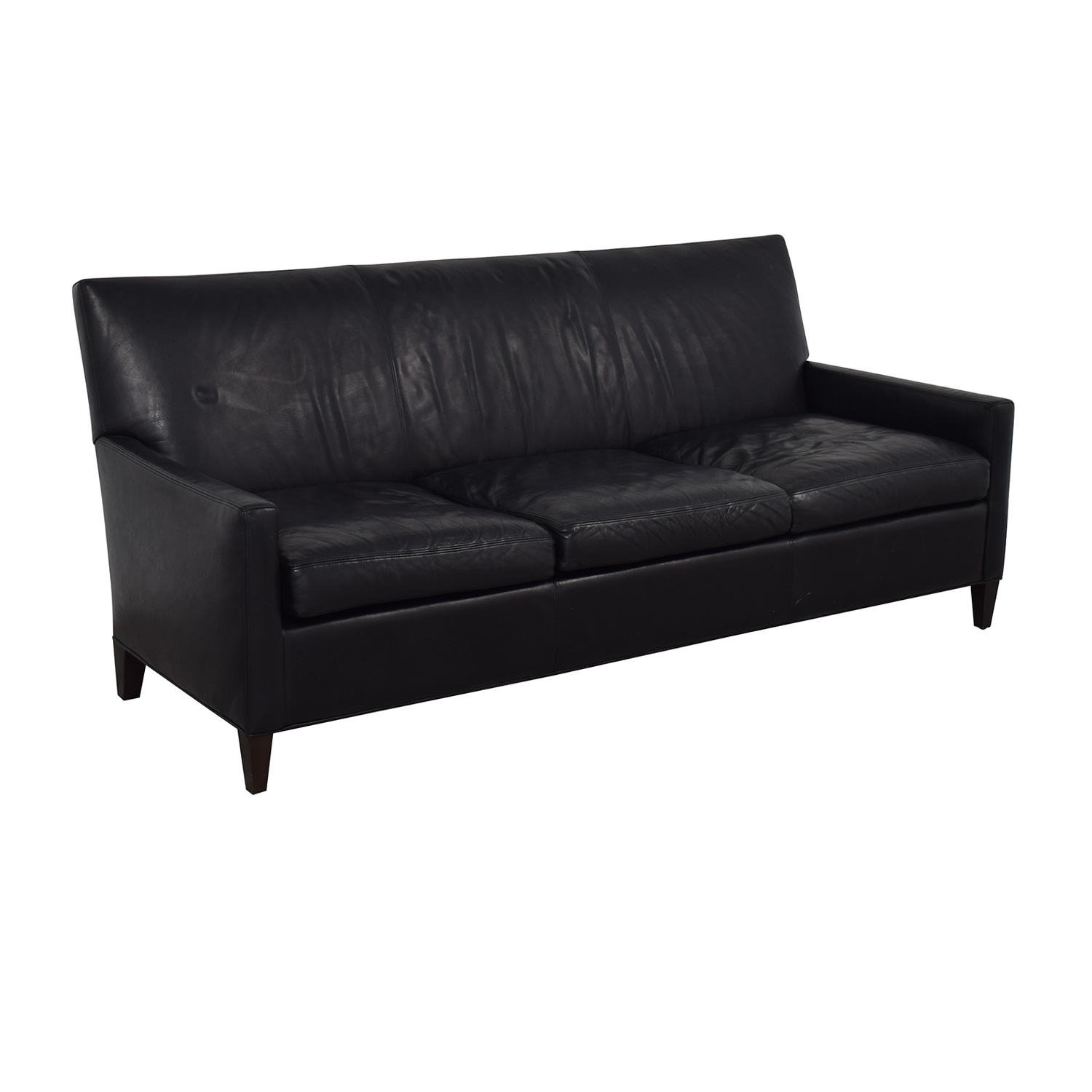 56% OFF - Crate & Barrel Crate & Barrel Black Leather Sofa / Sofas