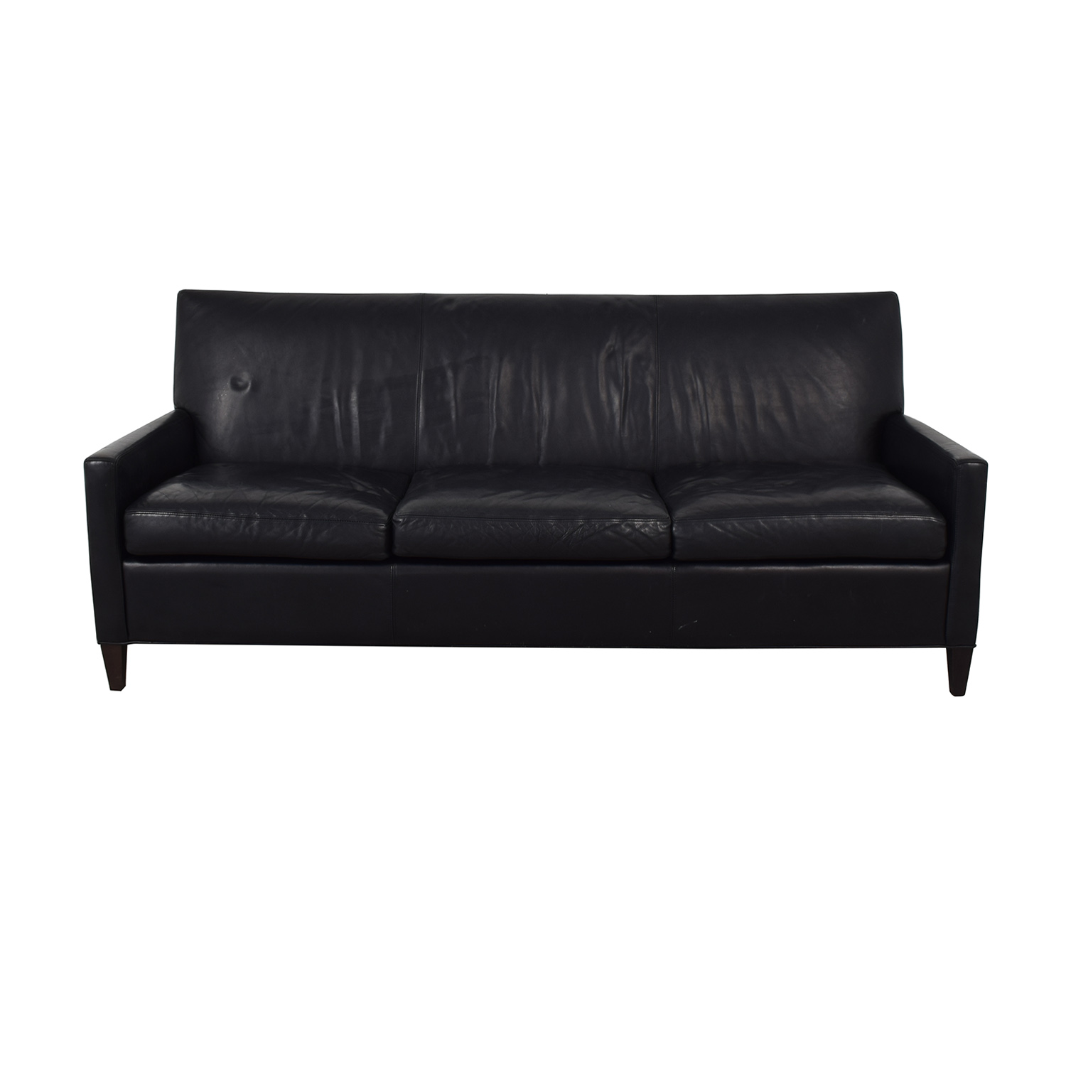 Crate & Barrel Crate & Barrel Black Leather Sofa nyc