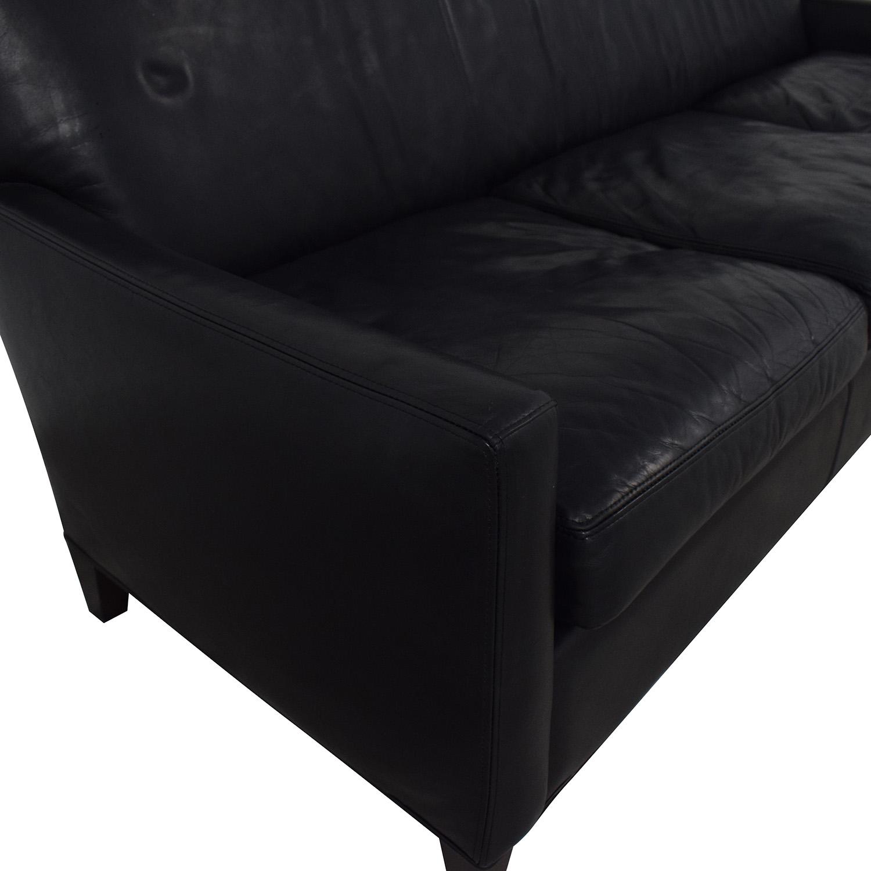 Crate & Barrel Crate & Barrel Black Leather Sofa coupon
