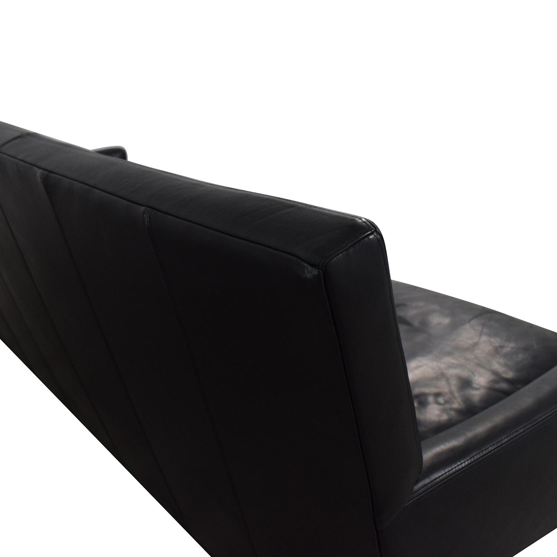 Crate & Barrel Crate & Barrel Black Leather Sofa for sale