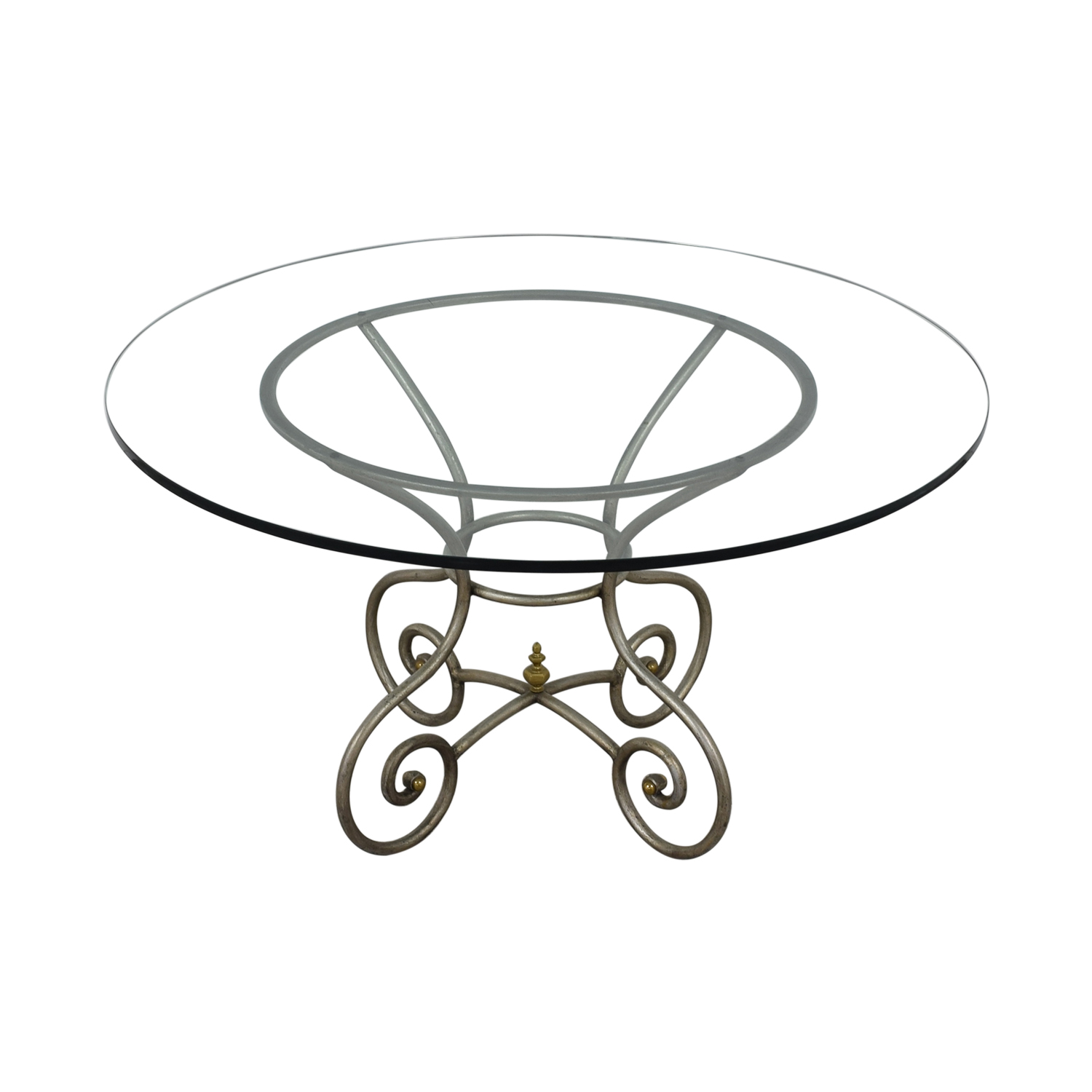 Round Glass Vintage Dining Table Tables
