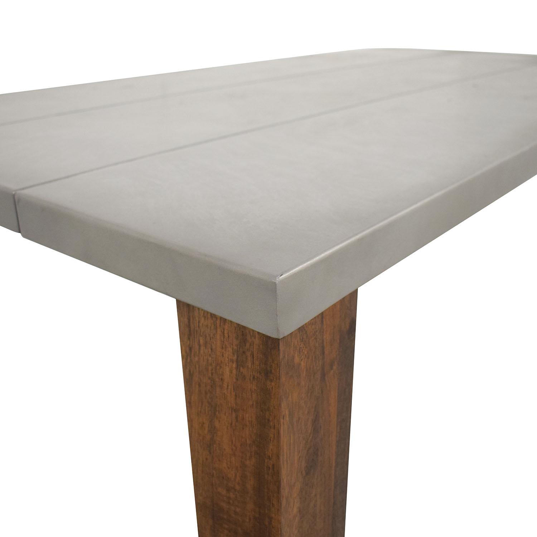 Crate & Barrel Crate & Barrel Galvin Metal Top Dining Table grey