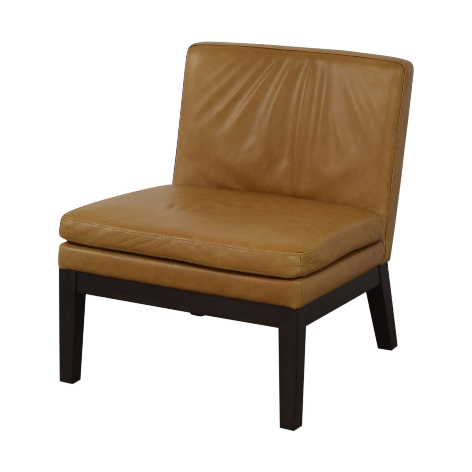 buy West Elm Orange Tan Leather Chair West Elm Accent Chairs