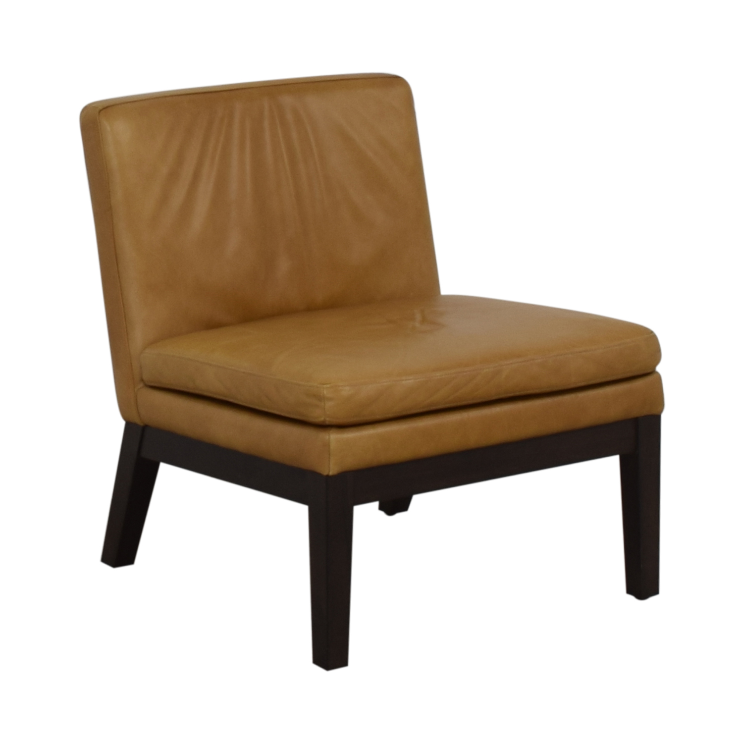 West Elm West Elm Orange Tan Leather Chair on sale