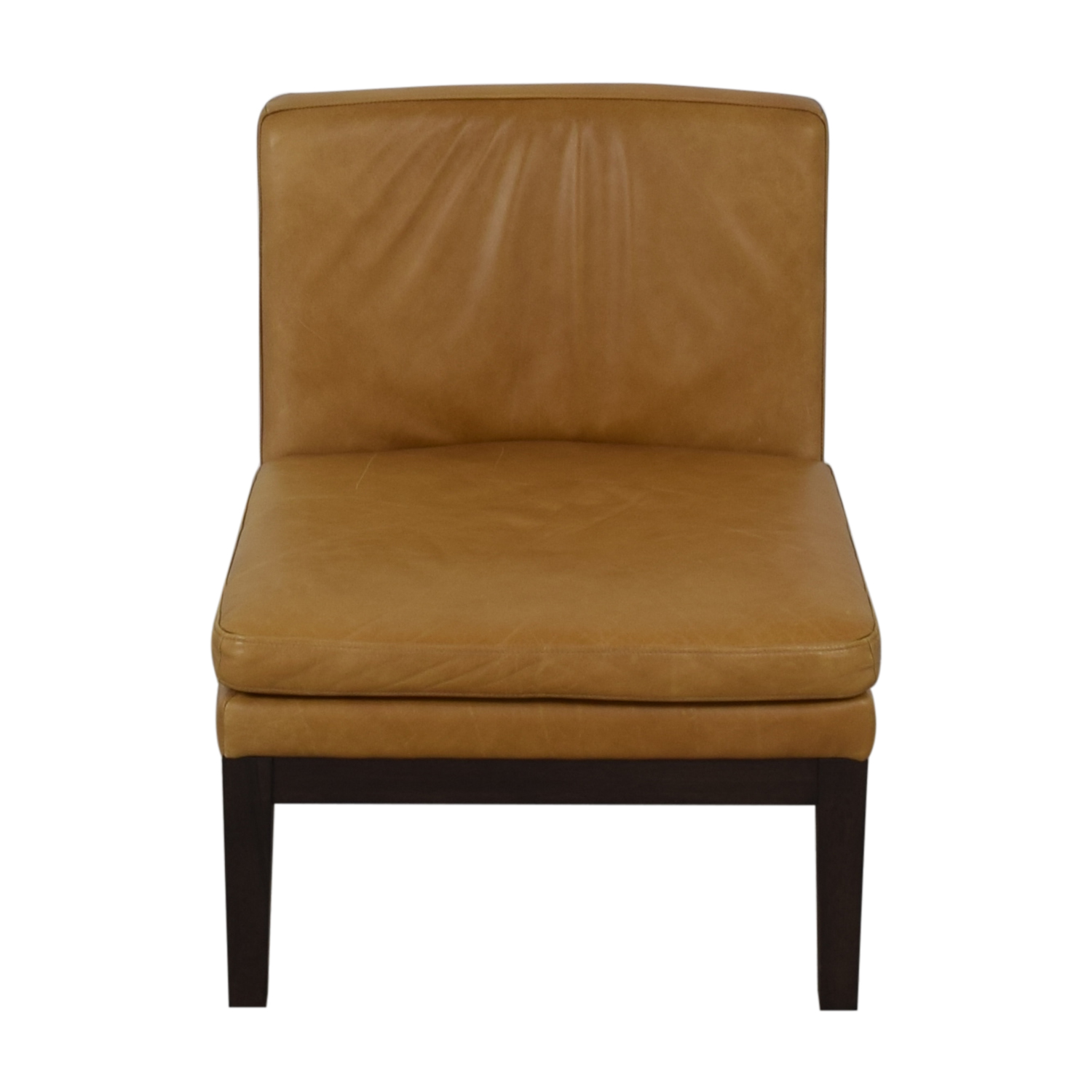 West Elm West Elm Orange Tan Leather Chair brown