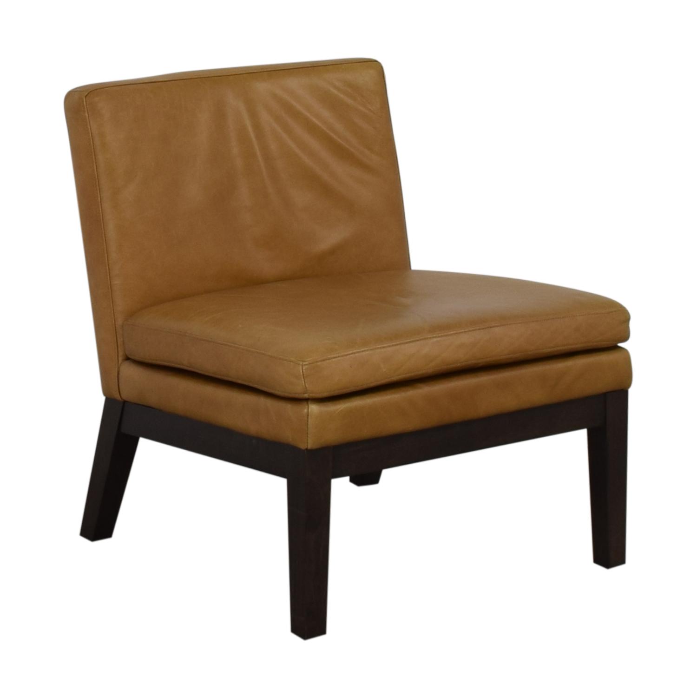 West Elm West Elm Orange Tan Leather Chair second hand