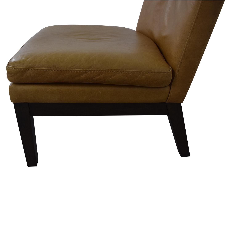 shop West Elm Orange Tan Leather Chair West Elm