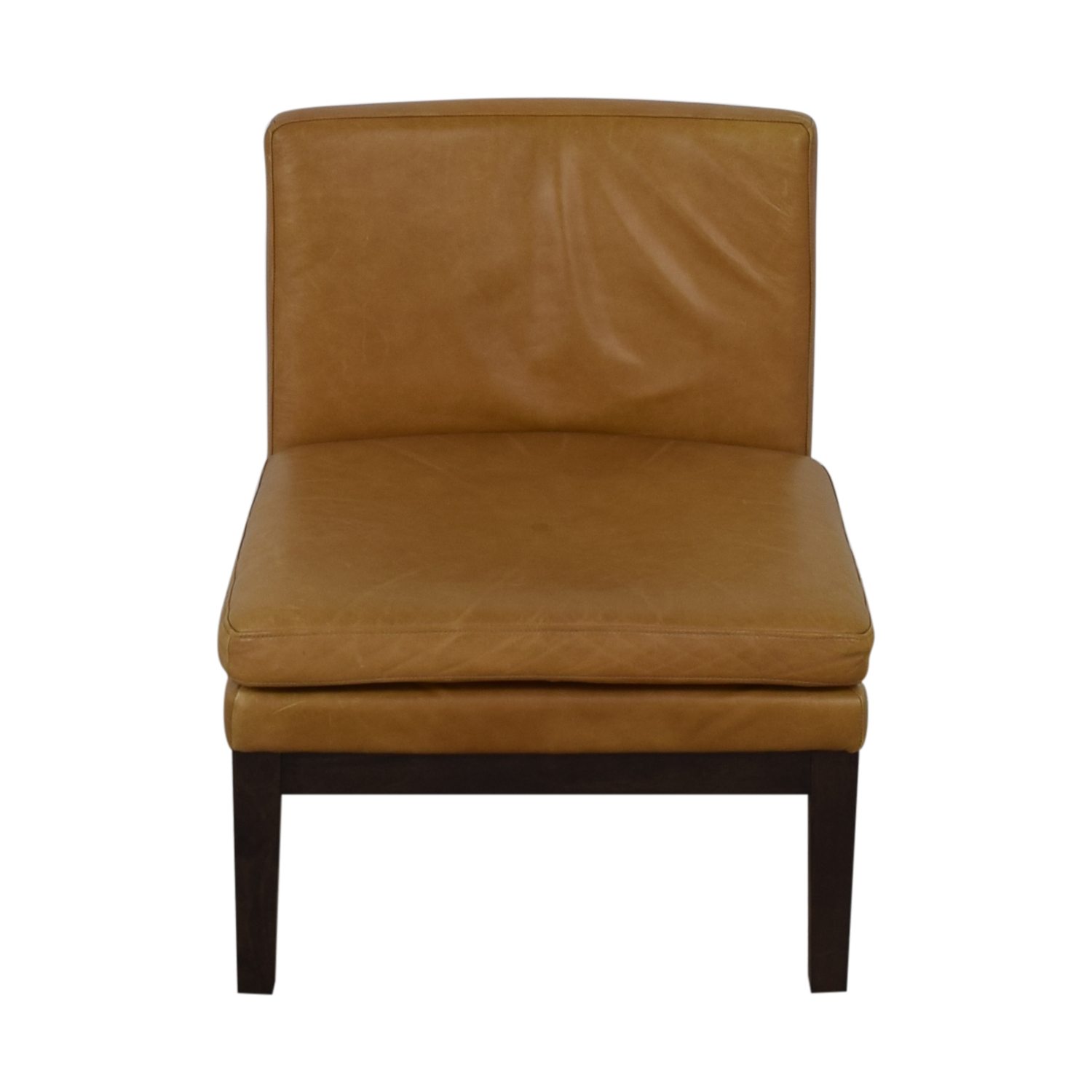 West Elm Orange Tan Leather Chair / Accent Chairs