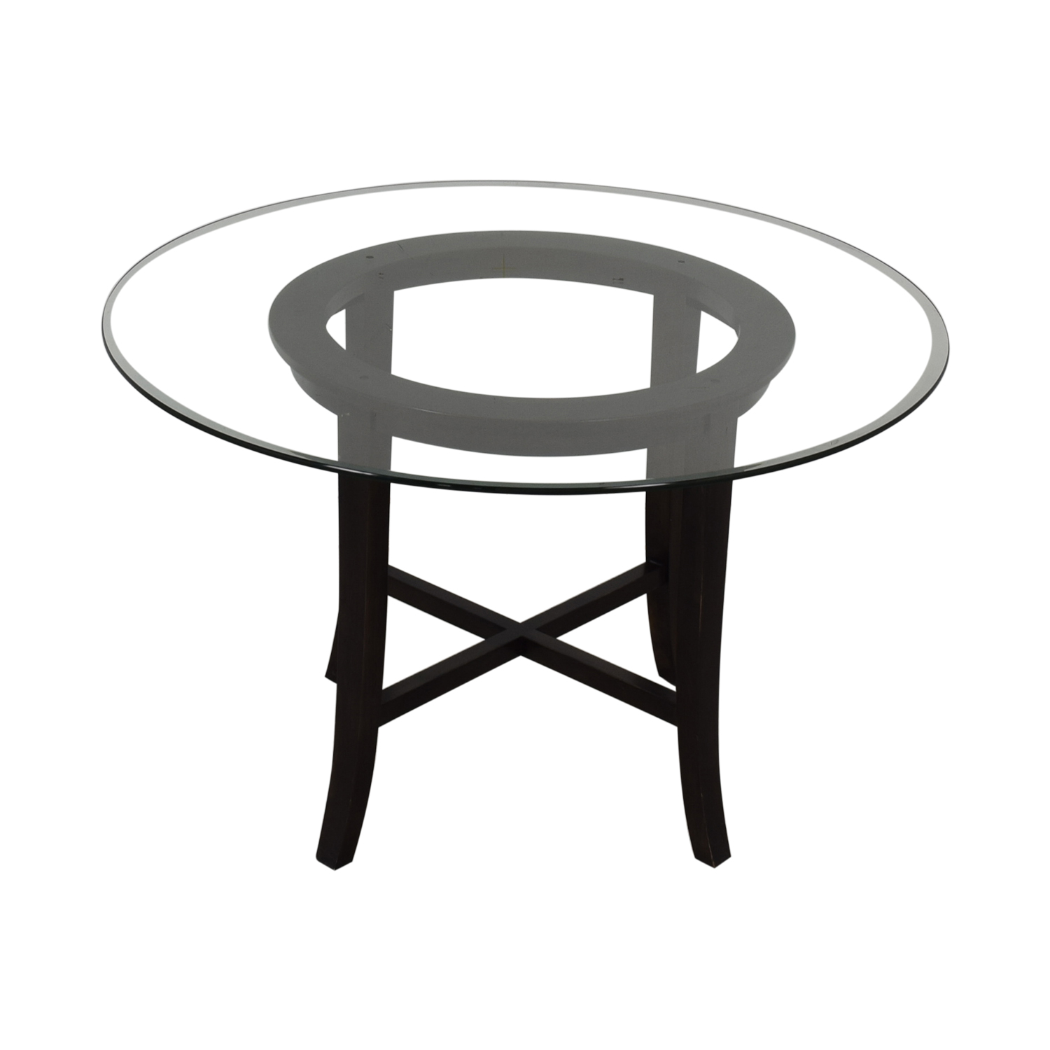 shop Crate & Barrel Halo Round Glass Dining Table Crate & Barrel