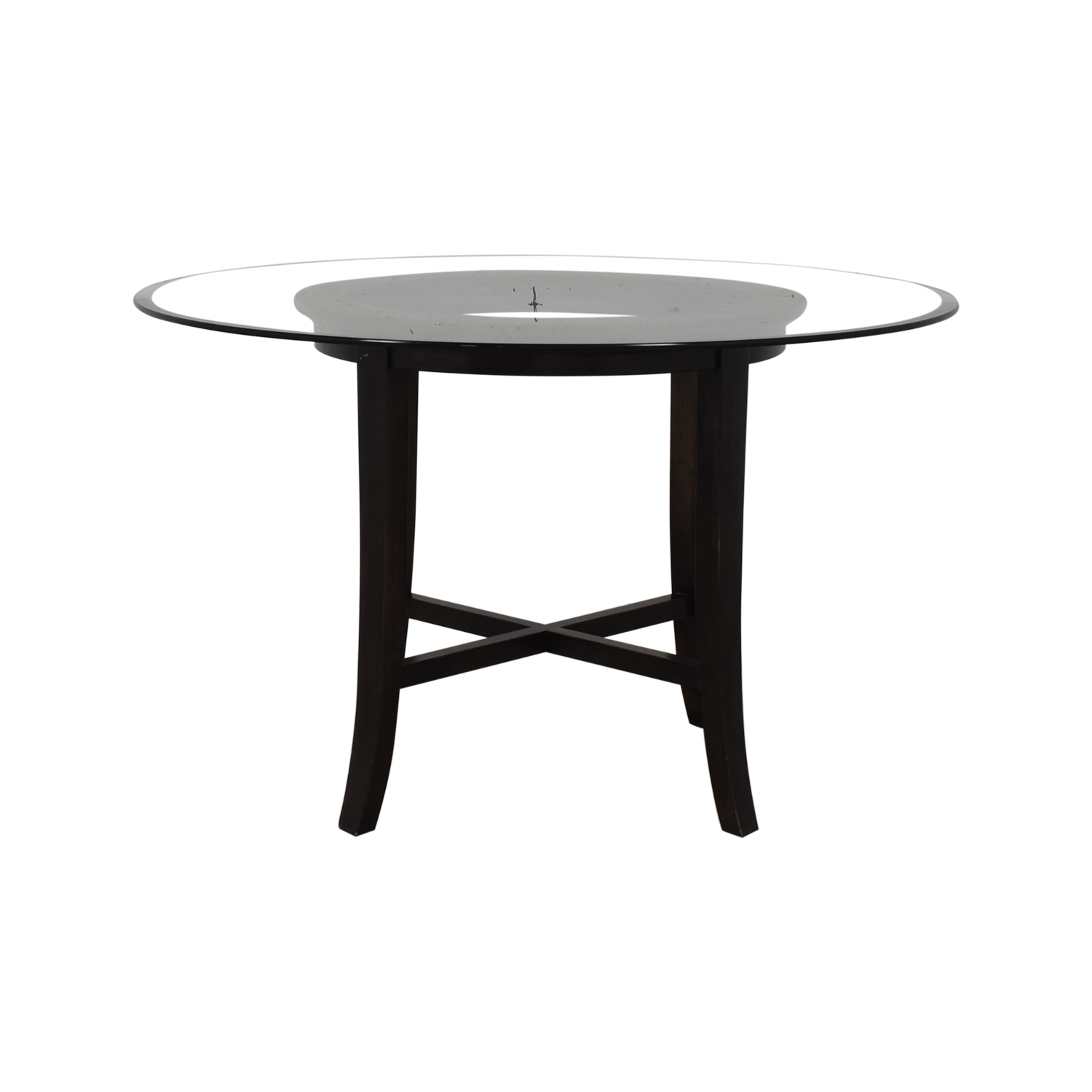 shop Crate & Barrel Halo Round Glass Dining Table Crate & Barrel Dinner Tables