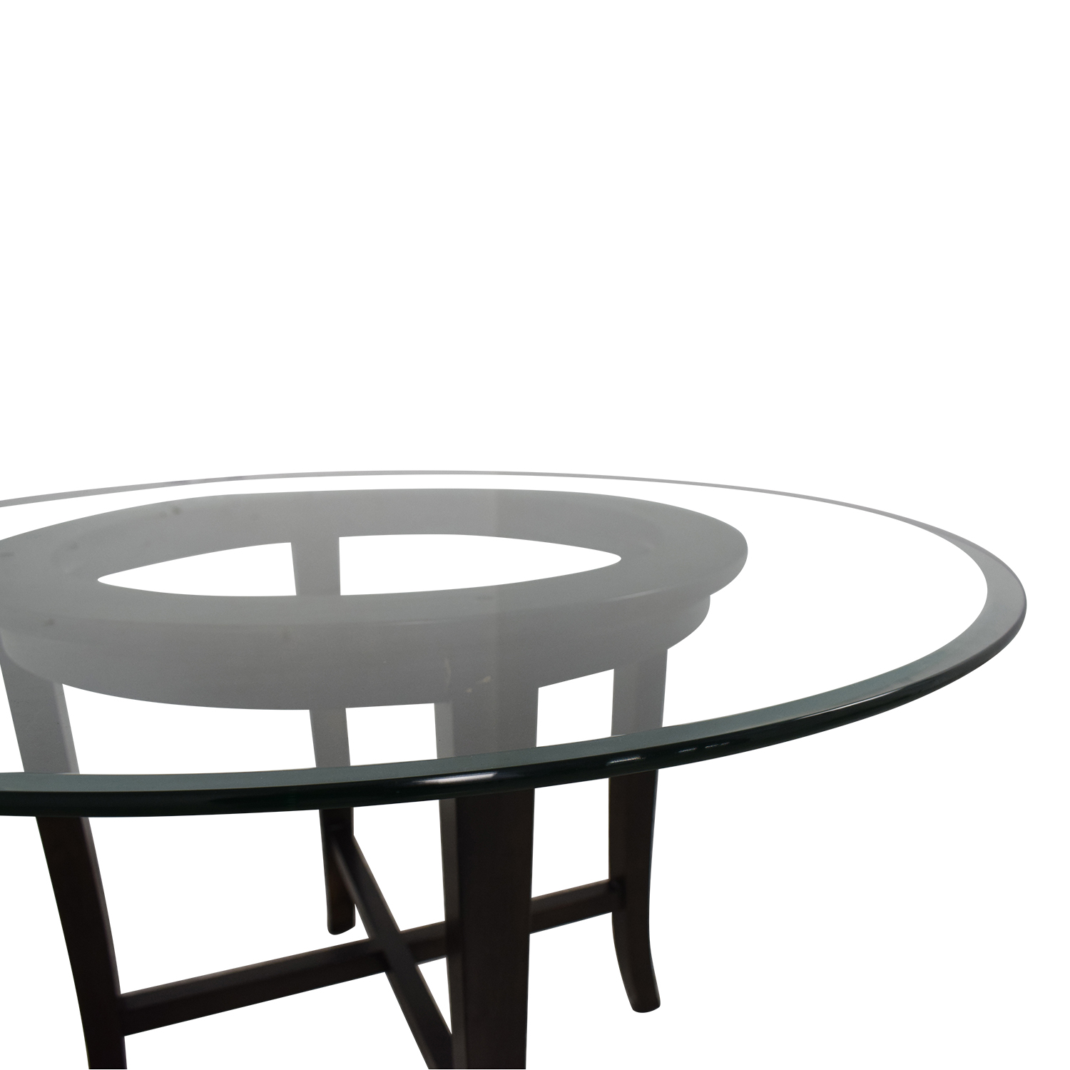buy Crate & Barrel Halo Round Glass Dining Table Crate & Barrel Dinner Tables