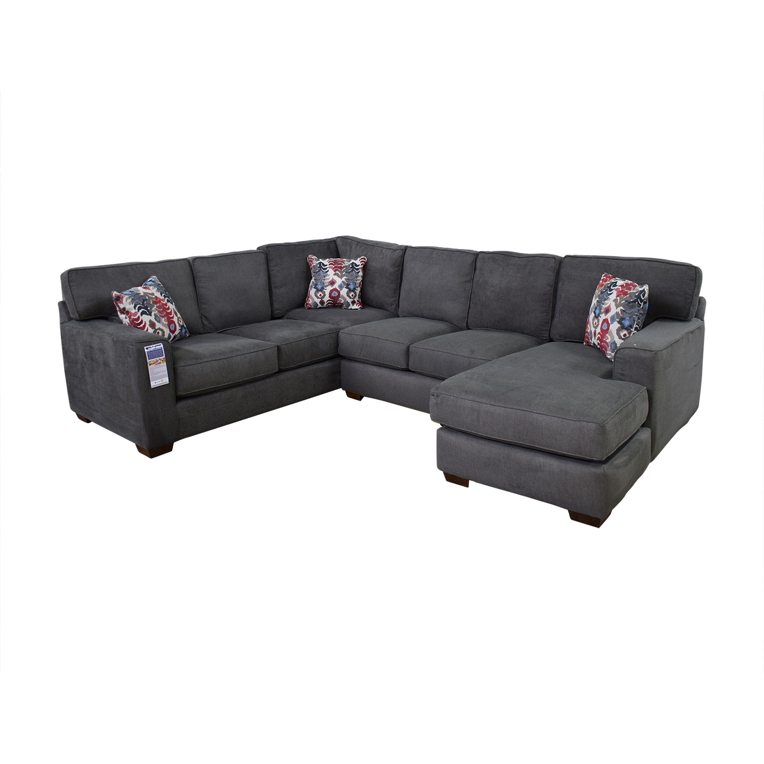 buy Klaussner Abbott Three-Piece Chaise Sectional Sofa Klaussner