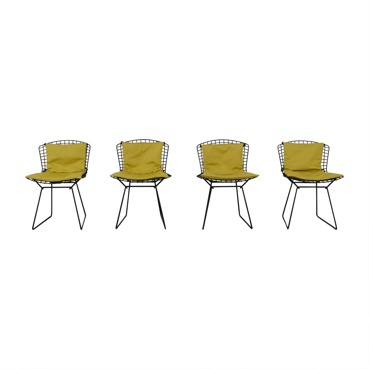 Knoll Bertoia Wire Chairs with Ligne Roset Cushions black an yellow