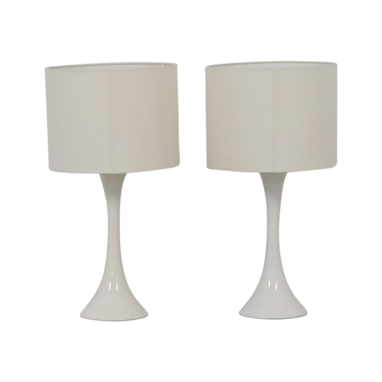 CB2 White Linen Ada Lamps CB2