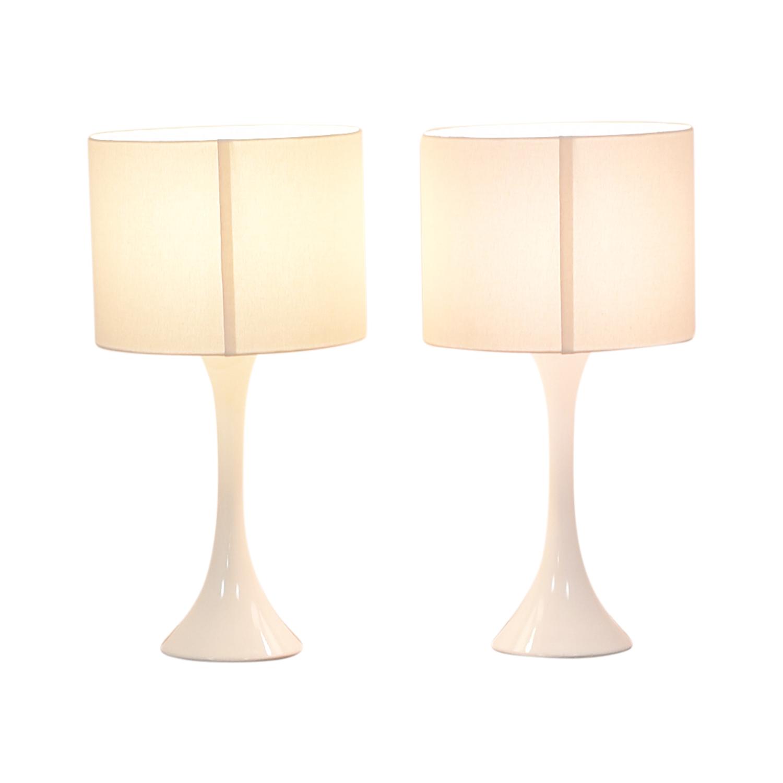 shop CB2 White Linen Ada Lamps CB2 Lamps