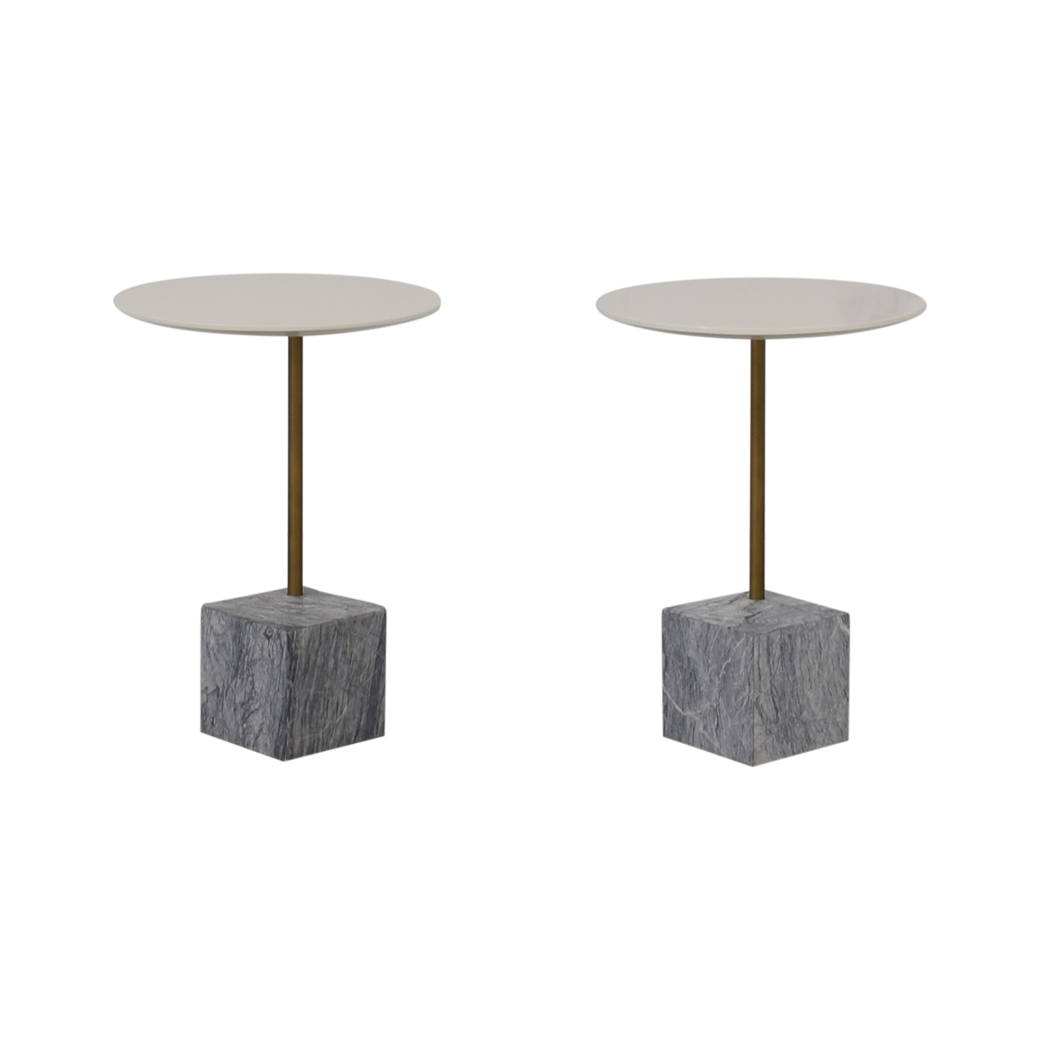 West Elm West Elm Cube C-Side Tables white and gray