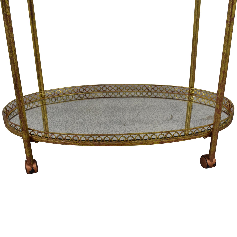 Mistana Antique Gold Metal Bar Cart sale