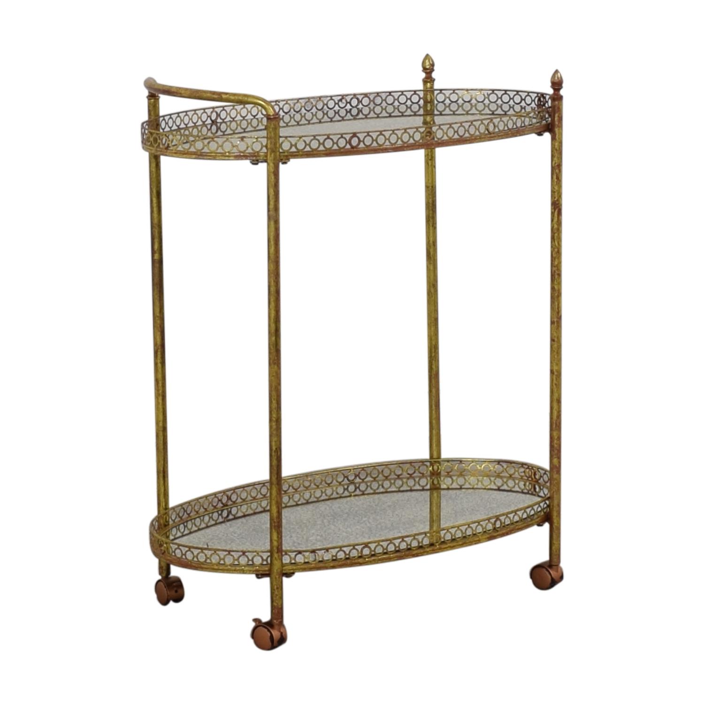 shop Mistana Antique Gold Metal Bar Cart Mistana