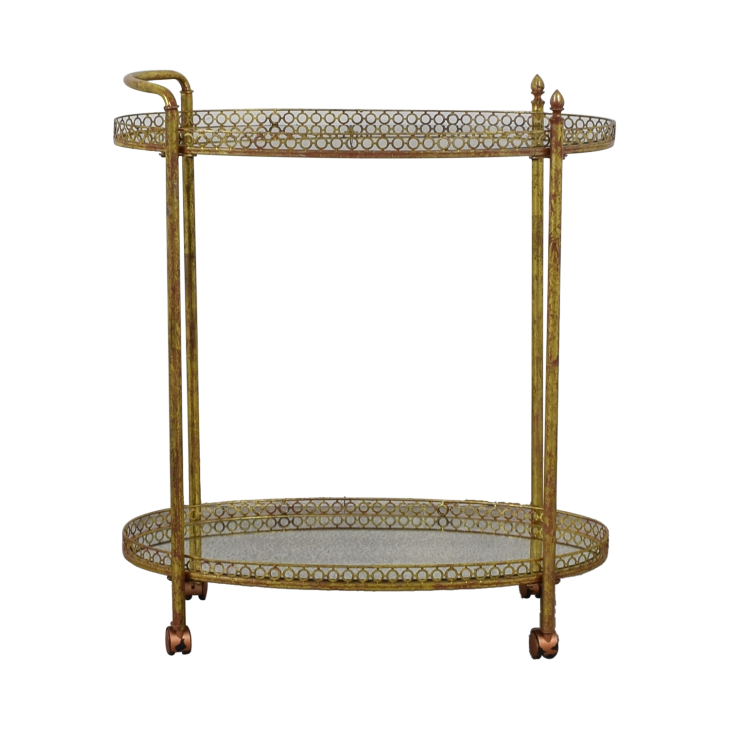 shop Mistana Antique Gold Metal Bar Cart Mistana Tables