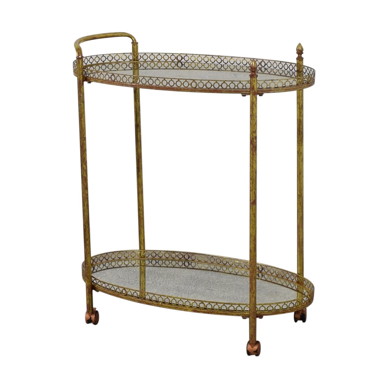 Mistana Antique Gold Metal Bar Cart Mistana