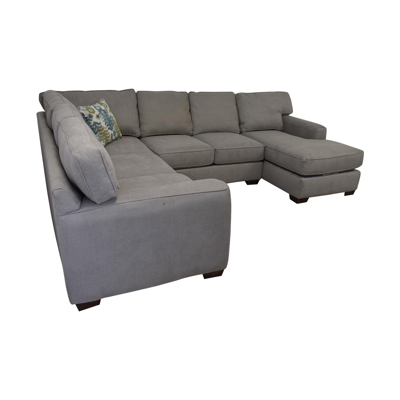 shop Klaussener Abbott Three-Piece Chaise Sectional Sofa Klaussner