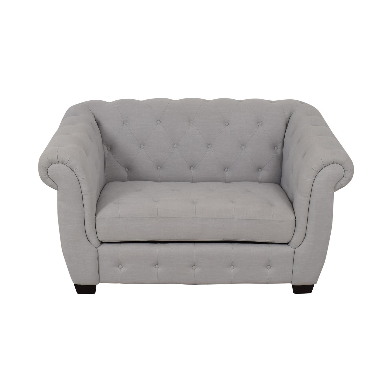 PBteen PBTeen Chesterfield Chair + Half Twin Sleeper Gray