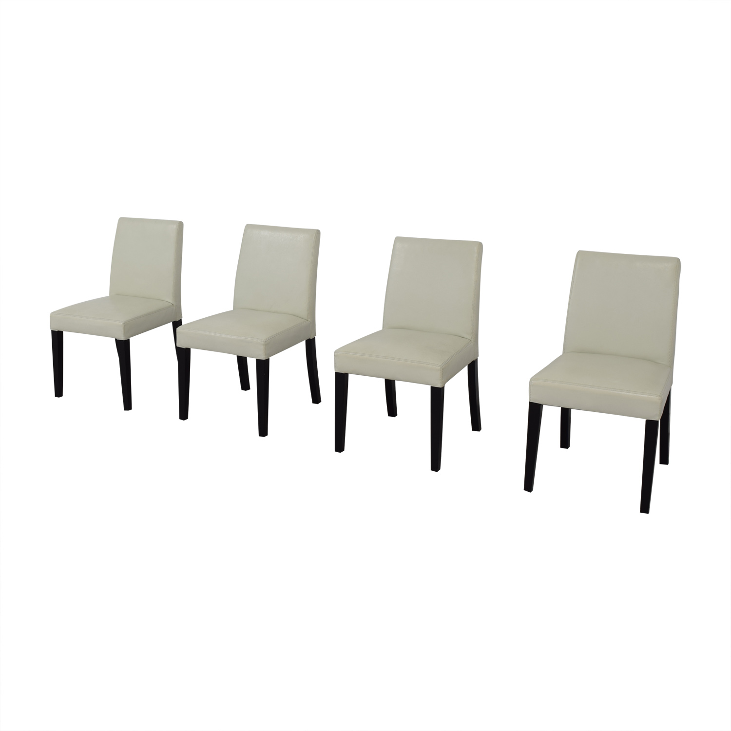 buy Crate & Barrel White Leather Dining Chairs Crate & Barrel