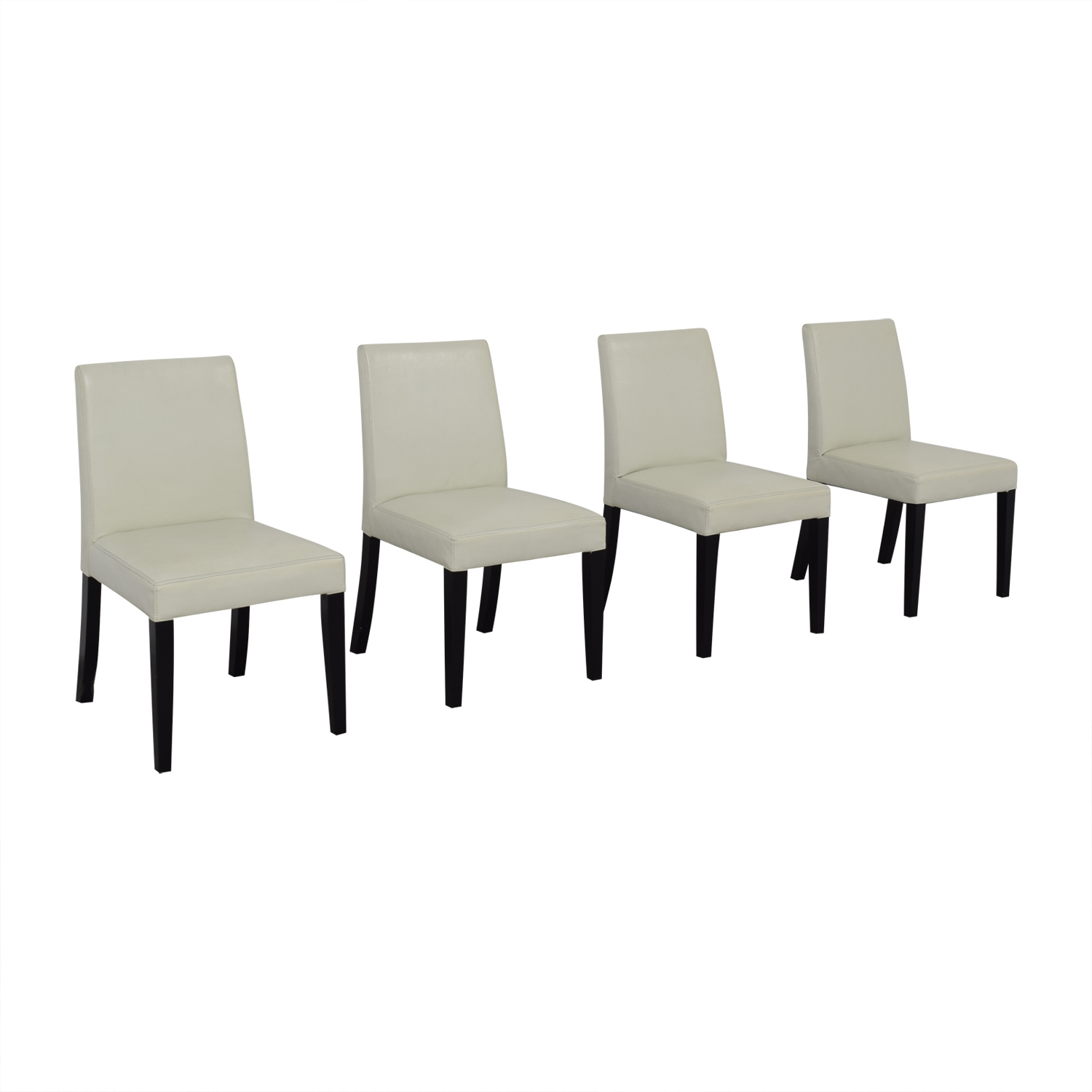 Crate & Barrel White Leather Dining Chairs / Dining Chairs