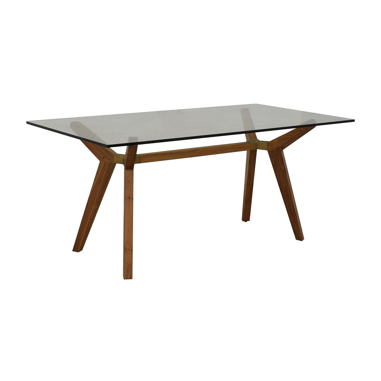 Crate & Barrel Crate & Barrel Strut Teak Glass Top Desk nj